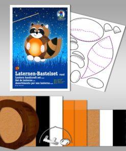 Ursus Laternen-Bastelset, rund, Waschbär