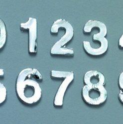 Wachsmotiv Zahlen 0 bis 9 in silber