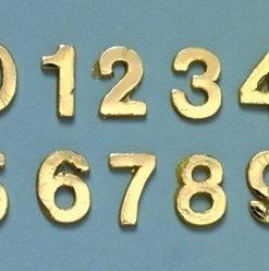 Wachsmotiv Zahlen 0 bis 9 in gold