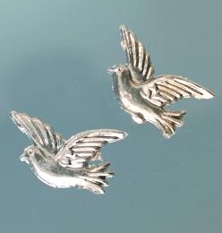 Wachsmotiv Tauben in silber, zum Dekorieren