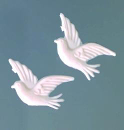 Wachsmotiv Tauben in weiß, zum Dekorieren