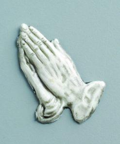Wachsdekor Betende Hände, zum Dekorieren, in weiß/grau