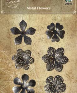 Ursus Vintage Metall Sticker Blumen für Scrapbooking