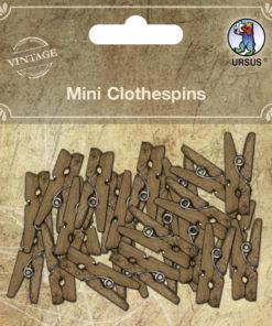 Ursus Vintage Mini Klammern aus Holz, Wäscheklammern
