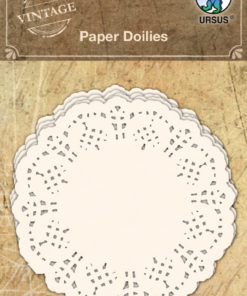 Vintage Papier Spitzendeckchen in weiß