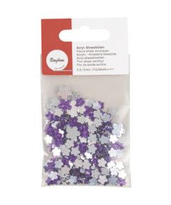 Acryl- Strassblüten in lila und kristall
