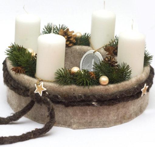 Adventskranz mit Wollfilz