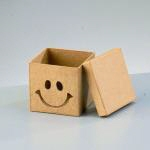 Papp-Box Smile, 7,5x7,5x7 cm, in quadratischer Form