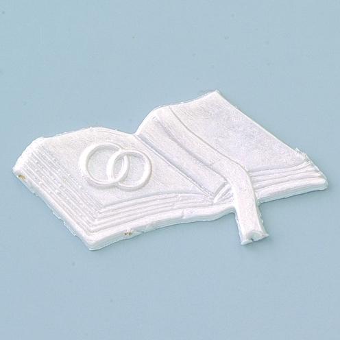 Wachsmotiv Hochzeitsbuch in perlmutt-weiß, zum Dekorieren