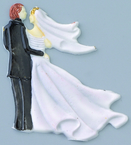 Wachsmotiv Brautpaar in weiß/schwarz, zum Dekorieren