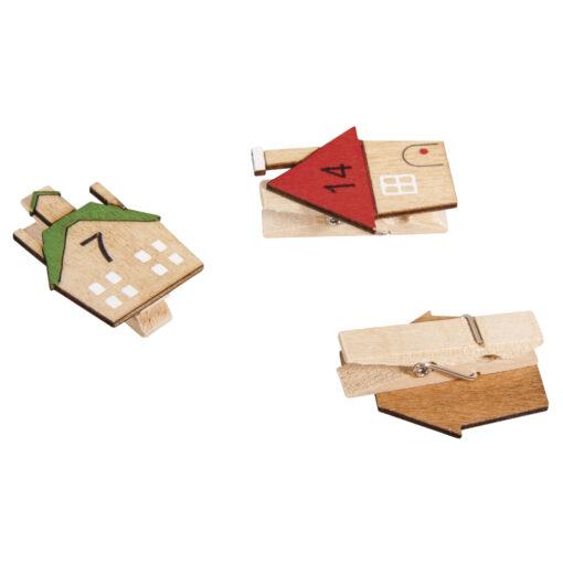 Holz-Klammern mit Haus 1-24