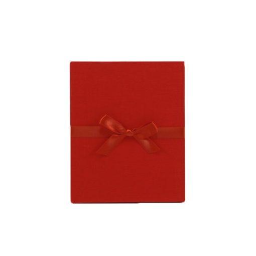 Leporello Linum, Rot mit Schleifenband