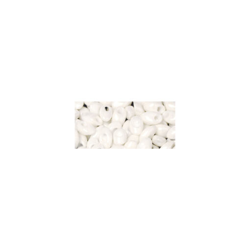 Magatama Perlen, weiß, opak, längliche Form