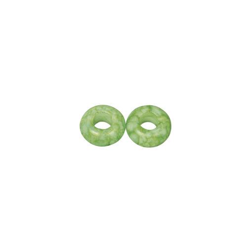 Glas Großlochperlen, 14mm, immergrün, zur Schmuckgestaltung