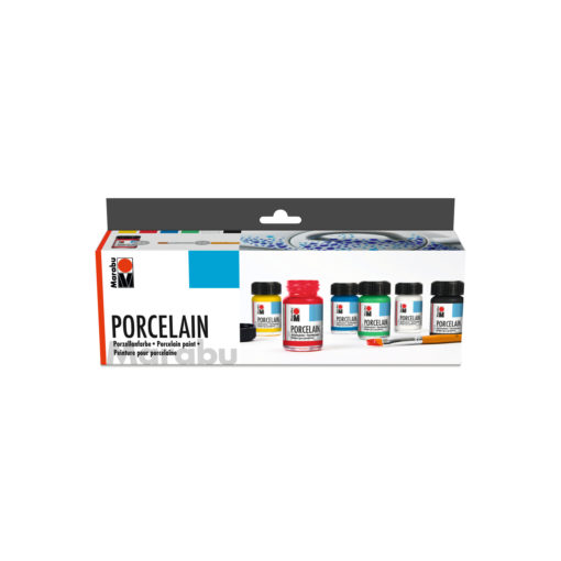 Marabu Porzellanmalfarbe im Starter-Set, 6 x 15 ml Glas, sortiert