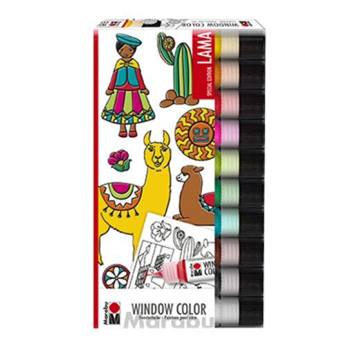 "Marabu Window Color fun & fancy ""Lama"" 10er Set"