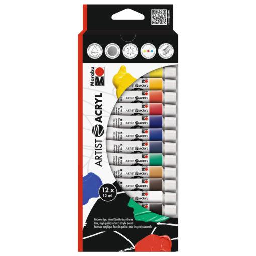 Marabu Artist, Set mit 12 Farben, Acrylfarbe zum Malen
