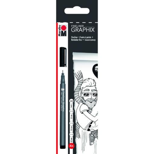 Marabu Fineliner Graphix-Set, 4 Stifte