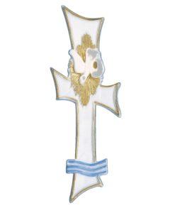 Wachsdekor Kreuz für Taufkerzen in weiß/gold