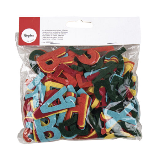 Filz-Buchstaben und Zahlen, 4cm, 5 Farben, SB-Btl ca. 230Stück, gemischt