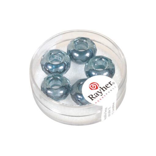 Magic Flair Glas Großloch Schliffperle, transparent, jeansblau