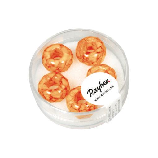 Magic Flair Glas Großloch Schliffperlen, orange