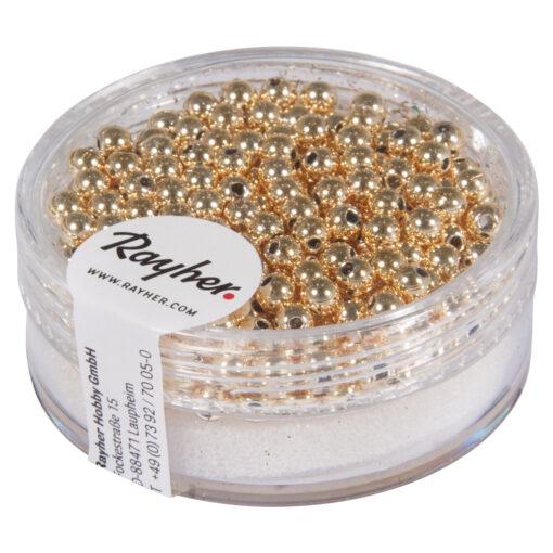 Goldperlen aus Plastik, 3mm in gold