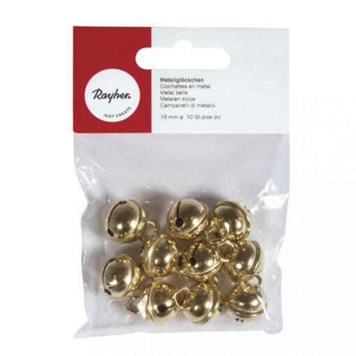 Rollenglöckchen gold 15mm in Verpackung