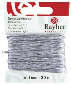 Rayher Schmuckkordel, grau, 1mm Ø