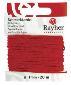 Rayher Schmuckkordel, rot, 1mm Ø, 20 m