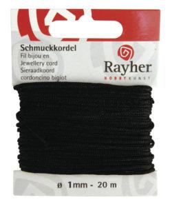 Rayher Schmuck-Kordel, 1mm Ø, schwarz