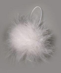 weiße Glitter-Federn, runde Form