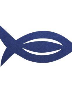 Filz Manschette für Servietten Fisch in royalblau
