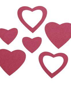 gestanzte Filz-Herzen pink