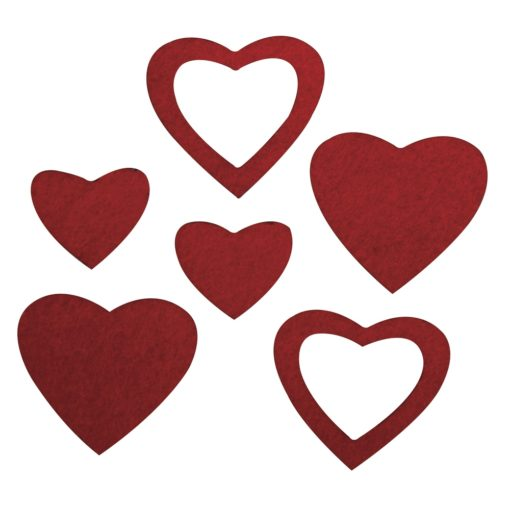 gestanzte Filz-Herzen rot