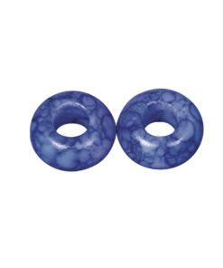 Glas Großloch Perle in royalblau