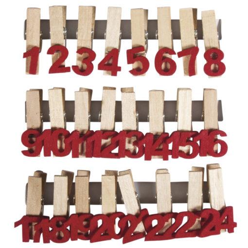 Holz-Adventskalenderzahlen auf Klammer