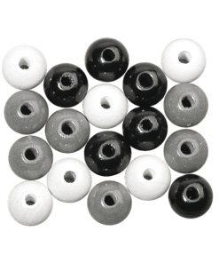 Rayher Holzperlen-Mischung schwarz-weiß