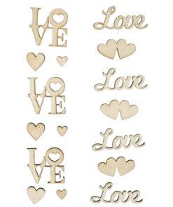 Schriftzug LOVE aus Holz, sortiert