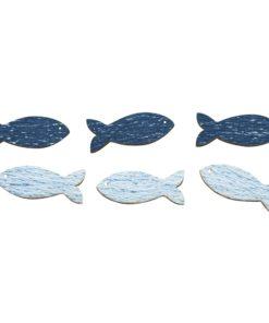 Holzstreuer blaue Fische, zum Kleben