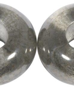 Glas Großloch Perle in anthrazit