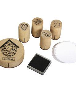 Rayher Mini-Holzstempelset Vögel