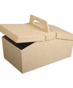 Rayher Papp-Box Korb, 20x11x13cm, mit Klappdeckel
