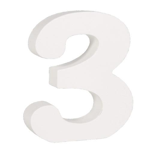 Rayher Pappmaché-Zahl 3 in weiß