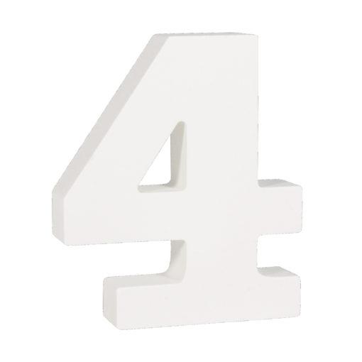Rayher Pappmaché-Zahl 4 in weiß