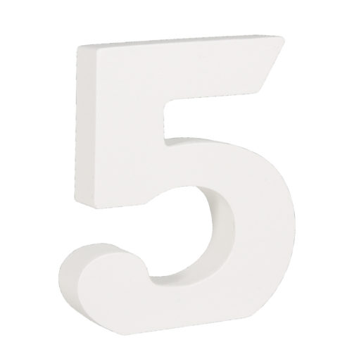 Rayher Pappmaché-Zahl 5 in weiß