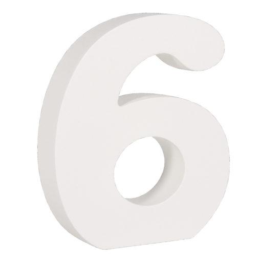 Rayher Pappmaché-Zahl 6 in weiß