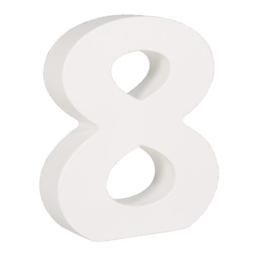 Rayher Pappmaché-Zahl 8 in weiß