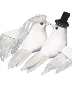 Taubenpaar mit Zylinder und Schleier