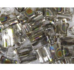 Rocailles, Rechteck, zur Schmuckgestaltung, transparent, bergkristall